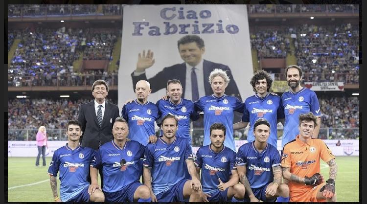 Formazione Nazionale Cantanti nella partita del Cuore di Genova dove è stato ricordato l'amico Fabrizio Frizzi